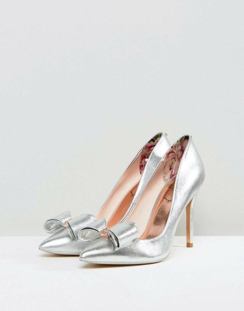 Ted Baker Women's Size US 8 38.5 Silver Azeline Pumps Bow Toe Pointy Shoes NWT