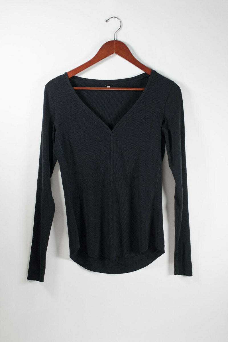 Kit and Ace Womens Size 6 Small Black Shirt V Neck Long Sleeve Cashmere Pullover