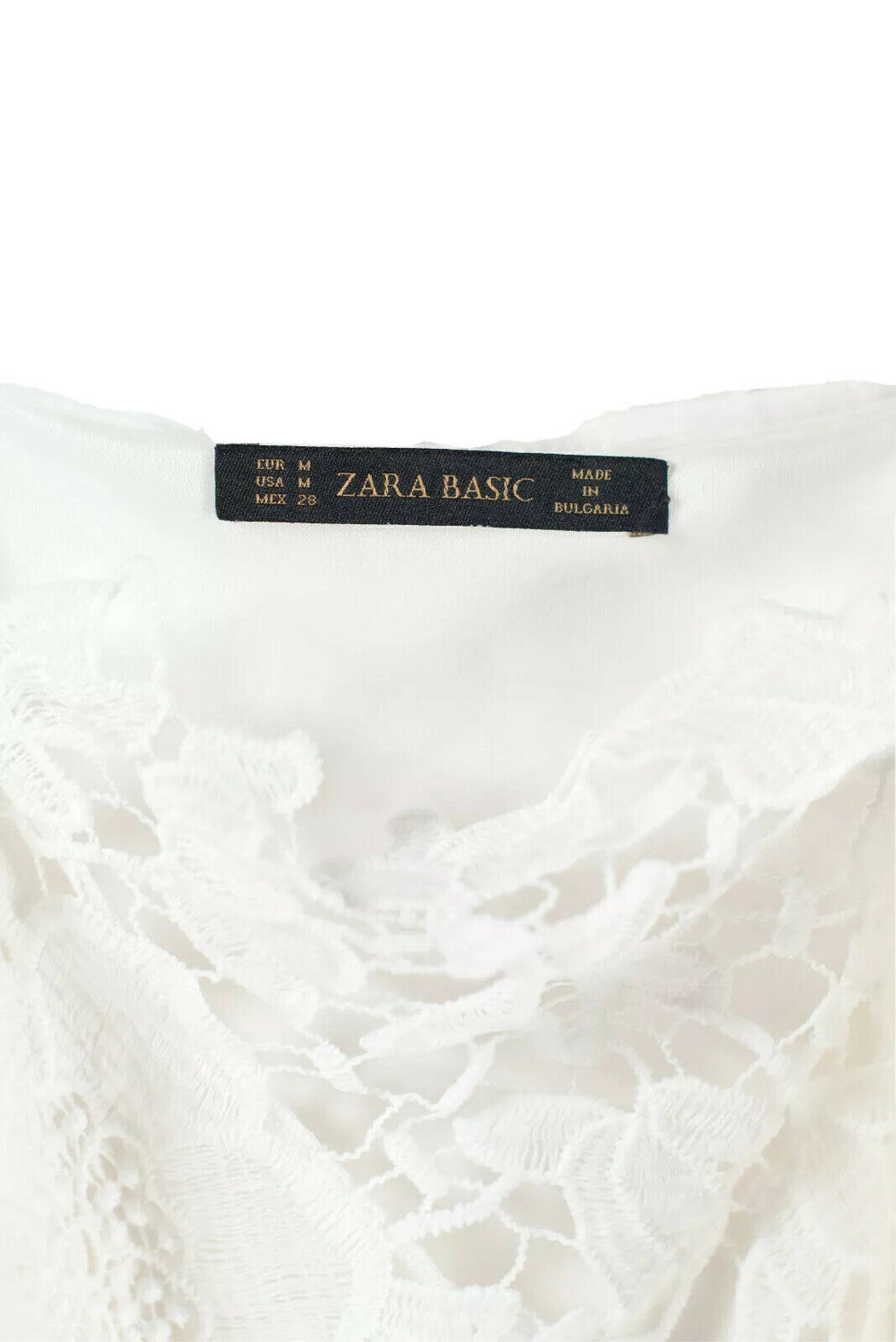 Zara Womens Medium White Dress Sleeveless Floral Lace Sheer Spaghetti Straps