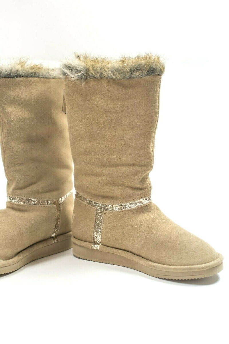 Juicy Couture Womens 6 Brown Gold Boots Ohara Suede Tall Glitter Faux Fur Zipper