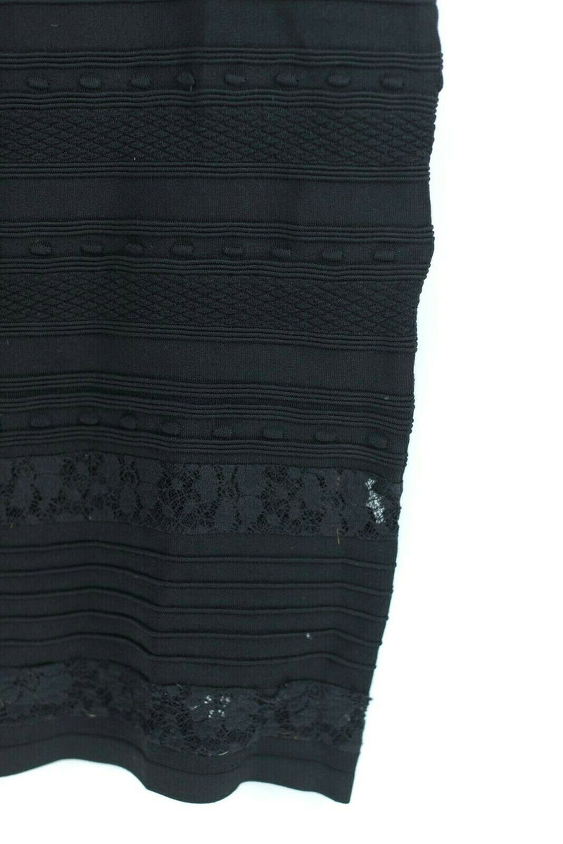 Marciano Womens Black Size XXS Dress Bodycon Bandage Midi Ribbed Lace Zipper