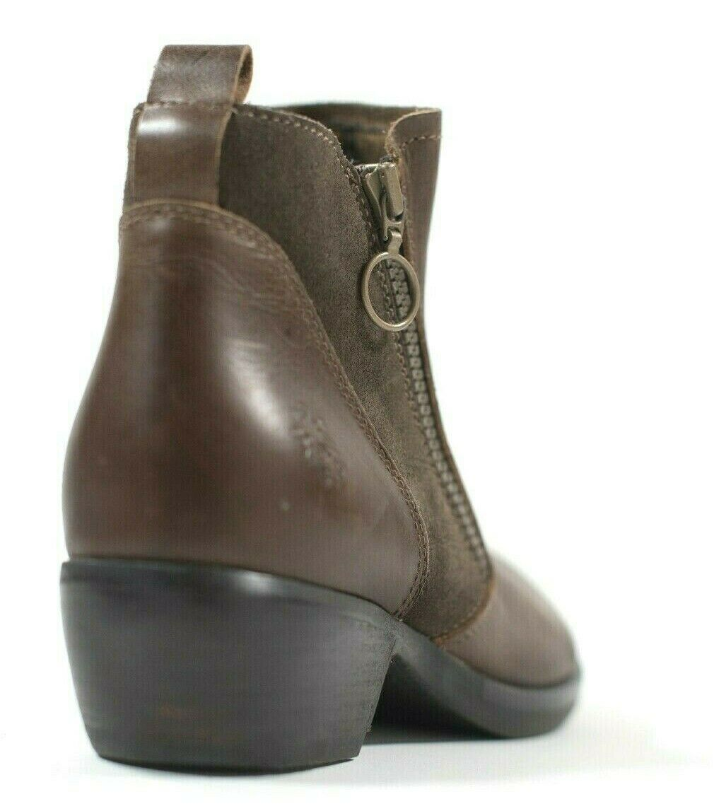 Fly London Womens Size 38 7.5 Brown Ankle Boots Meli Leather Low Heel Slip On