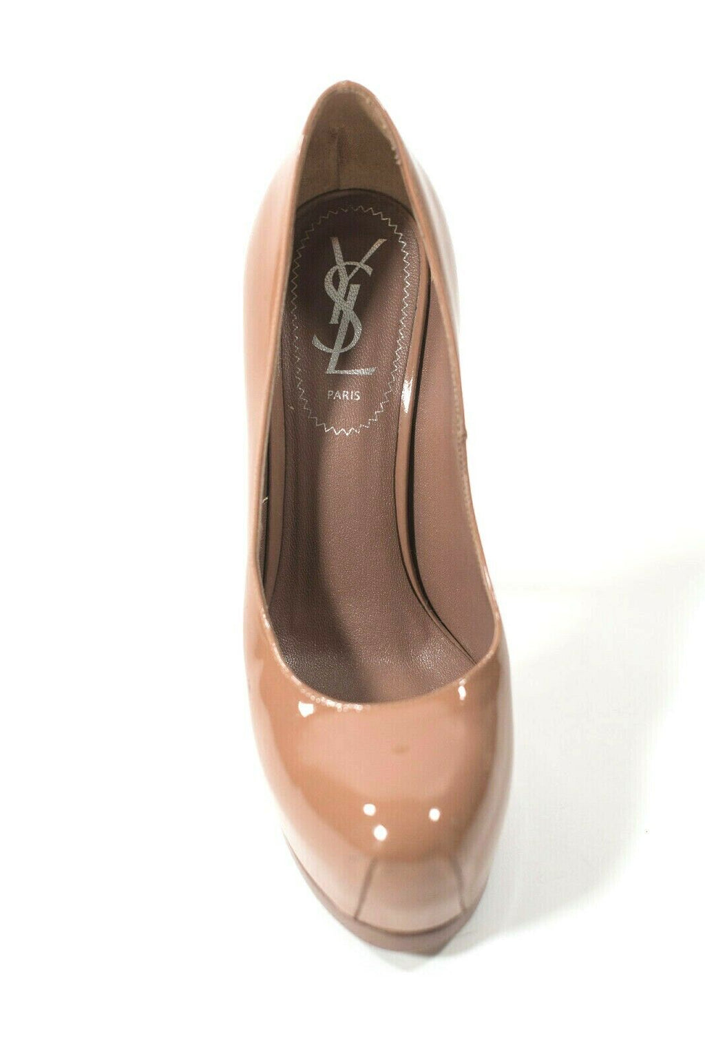 Yves Saint Laurent Womens 36.5 Beige Pumps Patent Leather YSL Tribtoo Stiletto