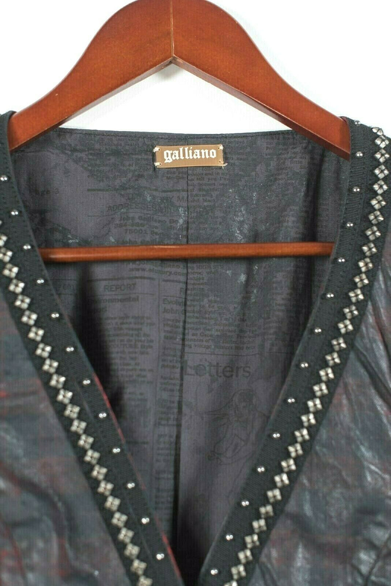Galliano Womens Size Small Black Red Vest Sleeveless Jacket Waxed Plaid Shirt