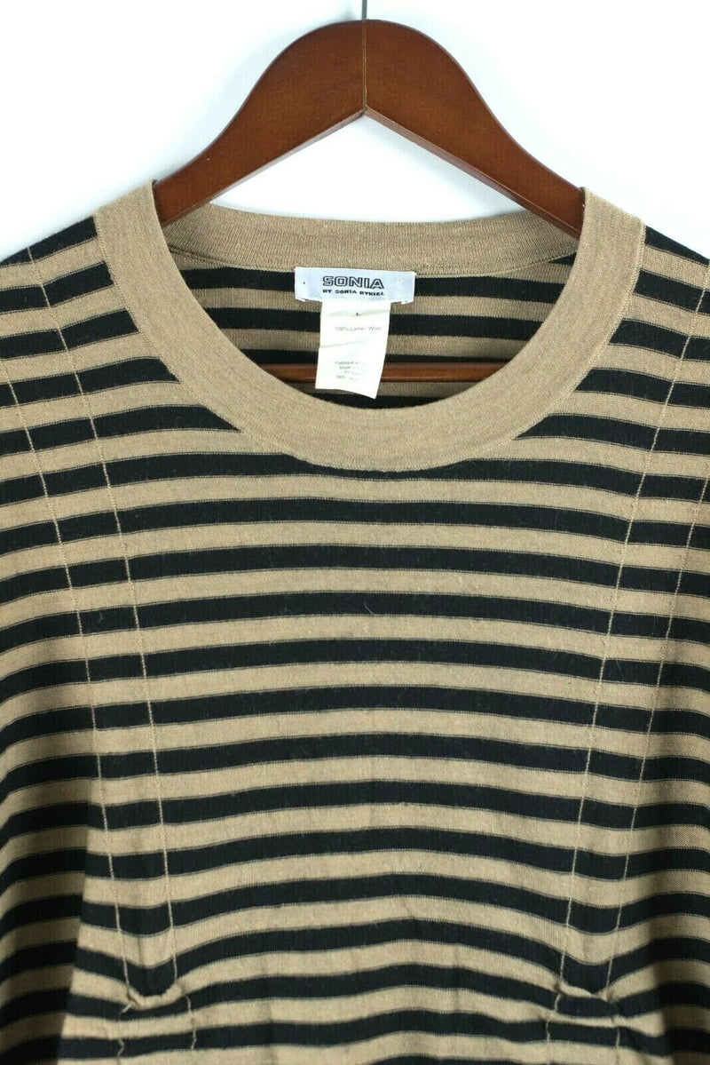 Sonia by Sonia Rykiel Womens Large Tan Black Sweater Striped Pullover Top Shirt