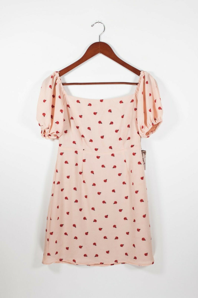 Endless Summer Revolve Clothing Womens Small Pink Red Dress Lady Bug Graphic NWT