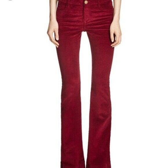 Maje Womens Size 26 Small Burgundy Pants Trousers Corduroy Wide Flare Bell Leg