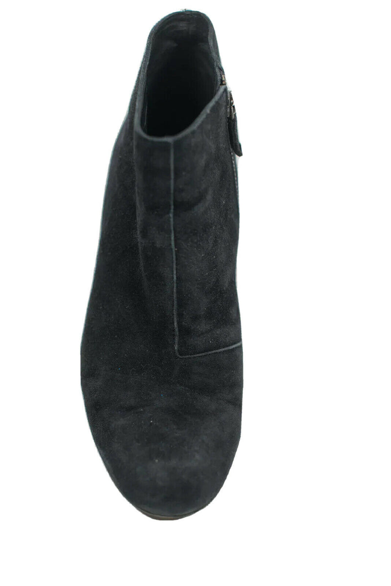 Eileen Fisher Womens Size 8.5 Black Ankle Boots Suede Zipper Block Heel Shoes
