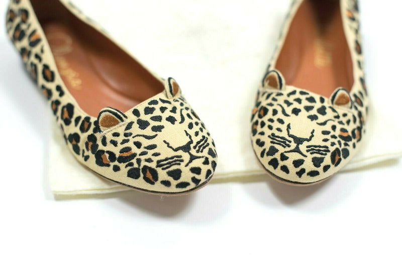 Charlotte Olympia Womens 38 Beige Flats Kitty Cat Ballet Leopard Shoes Canvas