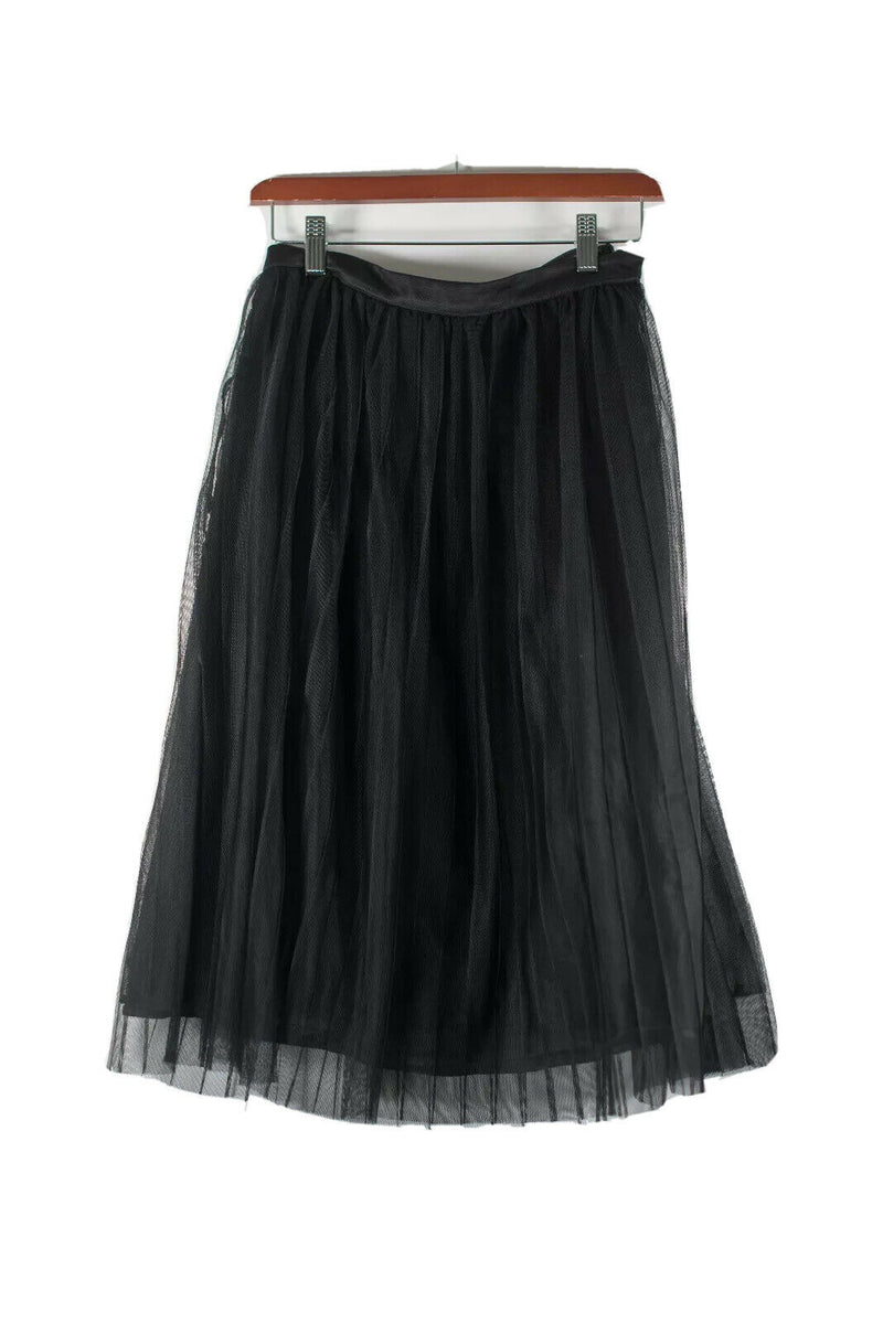 Bebe Womens Size 2 XS Black Skirt Knee Length Tulle Sheer Mesh Lined A-Line Midi