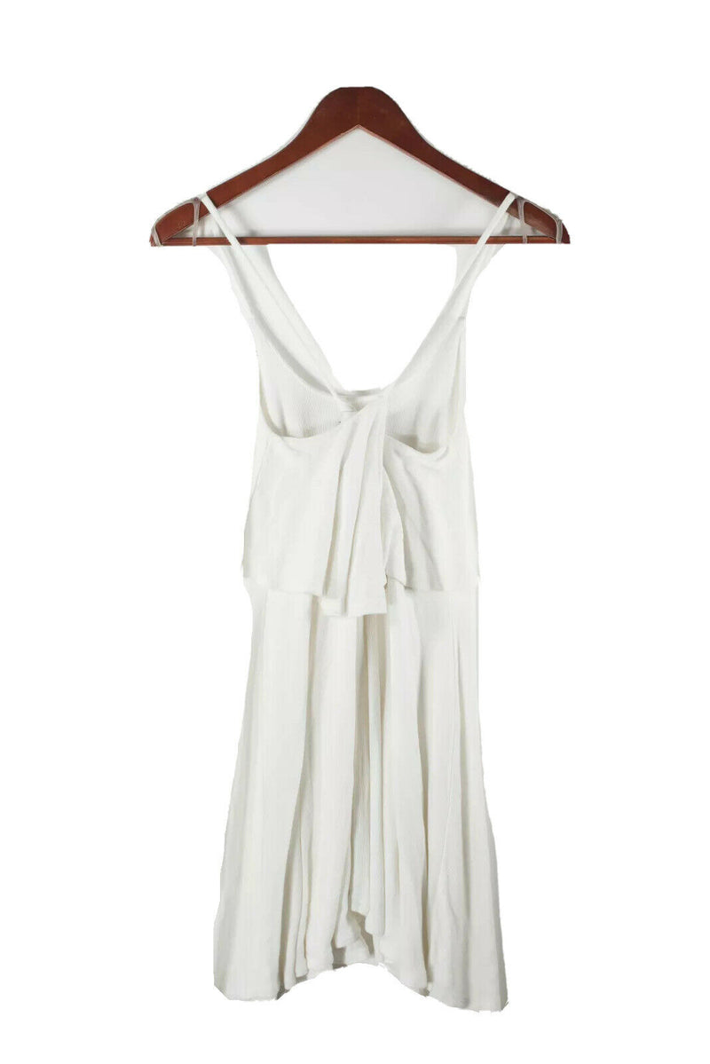 Free People Beach Womens XS White Skater Dress Spaghetti Strap Ruffle Ribbed