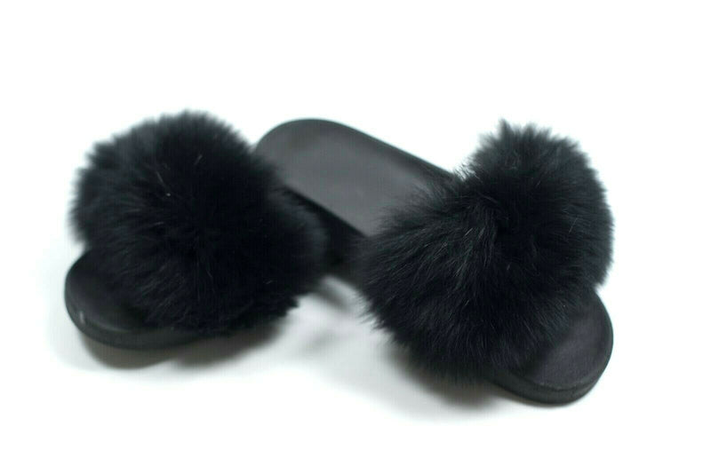 Womens Size 9 Black Fox Fur Slides Shoes Sandals Fluffy Furry Slipper Luxury