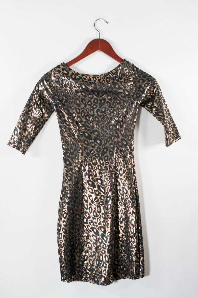 Black Milk Womens Small Black Gold Dress Foil Cheetah Leopard Print Bodycon Mini