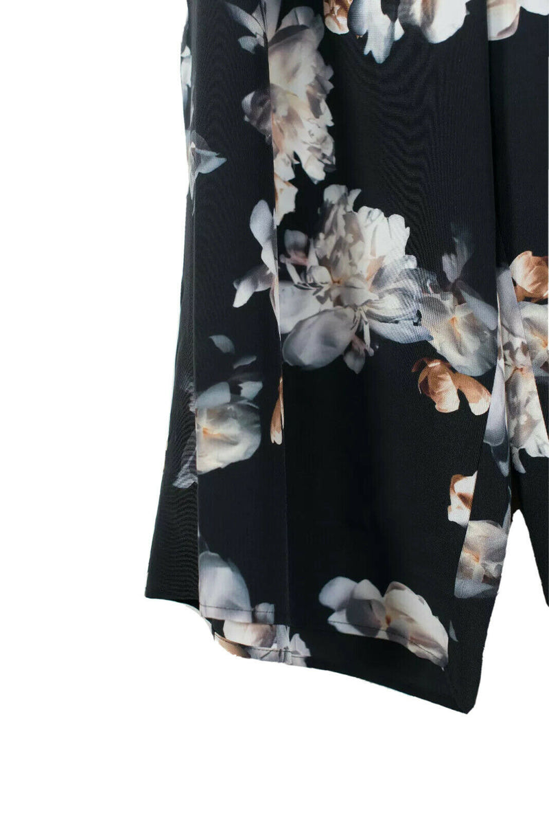 Vince Womens Size XL Black Pants Floral Wide Leg Printed Silk Elastic Waist Crop