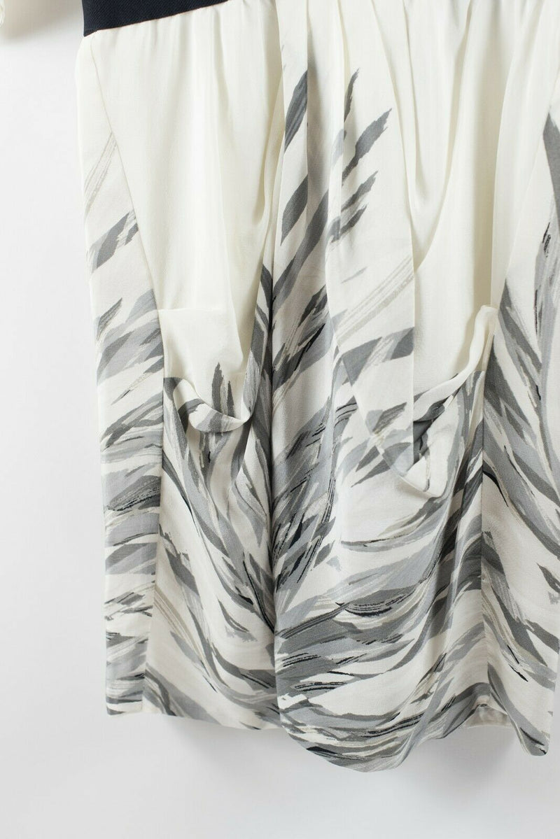 BCBG Maxazria Womens Size 2 XS Ivory Grey Dress Mini Silk Graphic Stripe Print