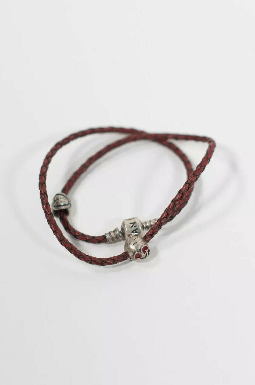 Pandora Womens Red Charm Bracelet Leather Double Wrap Cherries 925 Charms
