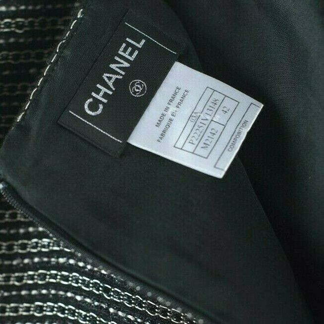 Chanel Womens Size 42 Black Silver Mini Skirt Metallic Tweed Polka Dot Tulle CC