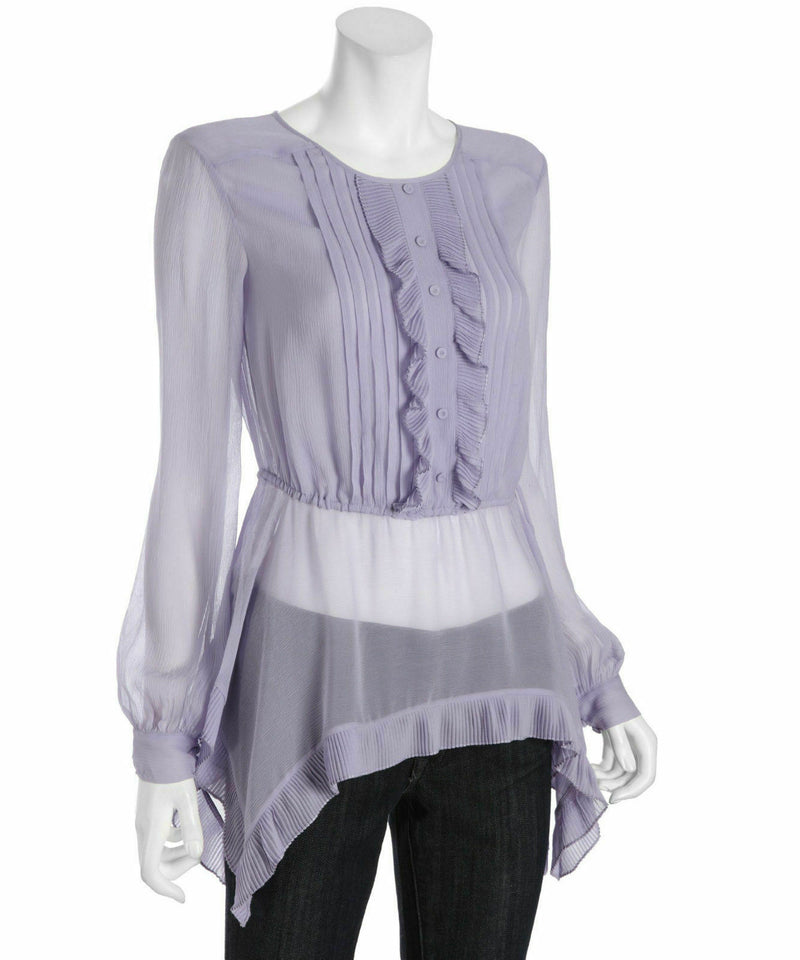 BCBG Maxazria Womens Size XS Lavender Purple Top Silk Blouse Retail $298 NWT