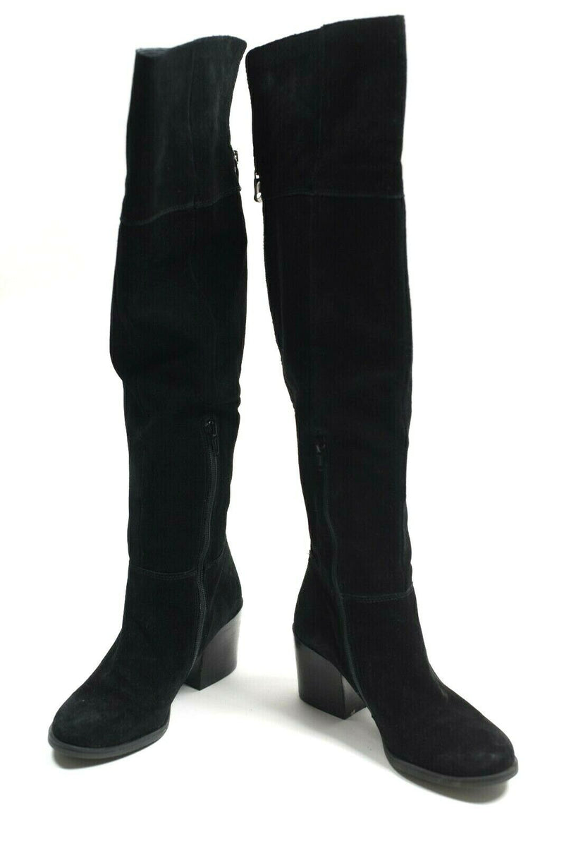 Steve Madden Womens Size 9 Black Boots Leather Tall Fold Over Suede Heel Zipper