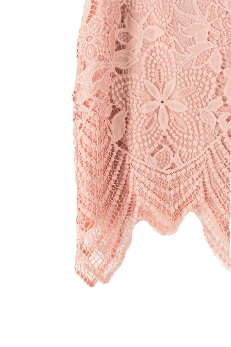 For Love & Lemons Womens Size XS Orange Skirt Mini Lace Solid Crochet Knit Short