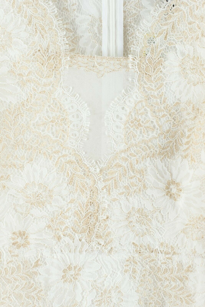 Elie Tahari Womens Size 8 Medium White Cream Gold Dress Lace Anne MSRP $498 NWT