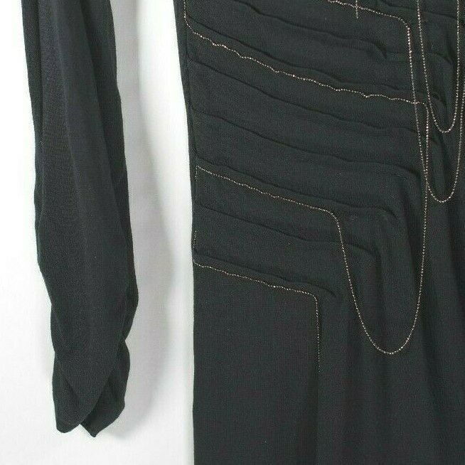 Tuzzi Womens Size 6 Black Dress Ruched Chain Knit Asymmetrical Long Sleeve Tunic
