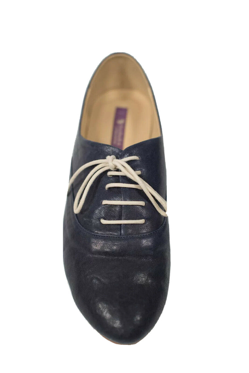 Barbara Womens Size 8 Navy Blue Loafers Lace Up Leather Low Heel Dress Shoes