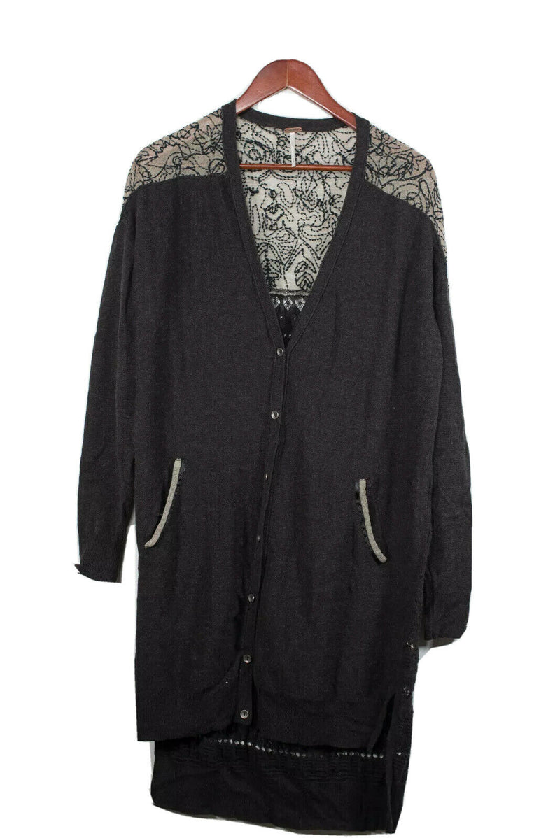 Free People Medium Grey Embroidered Knit Cardigan