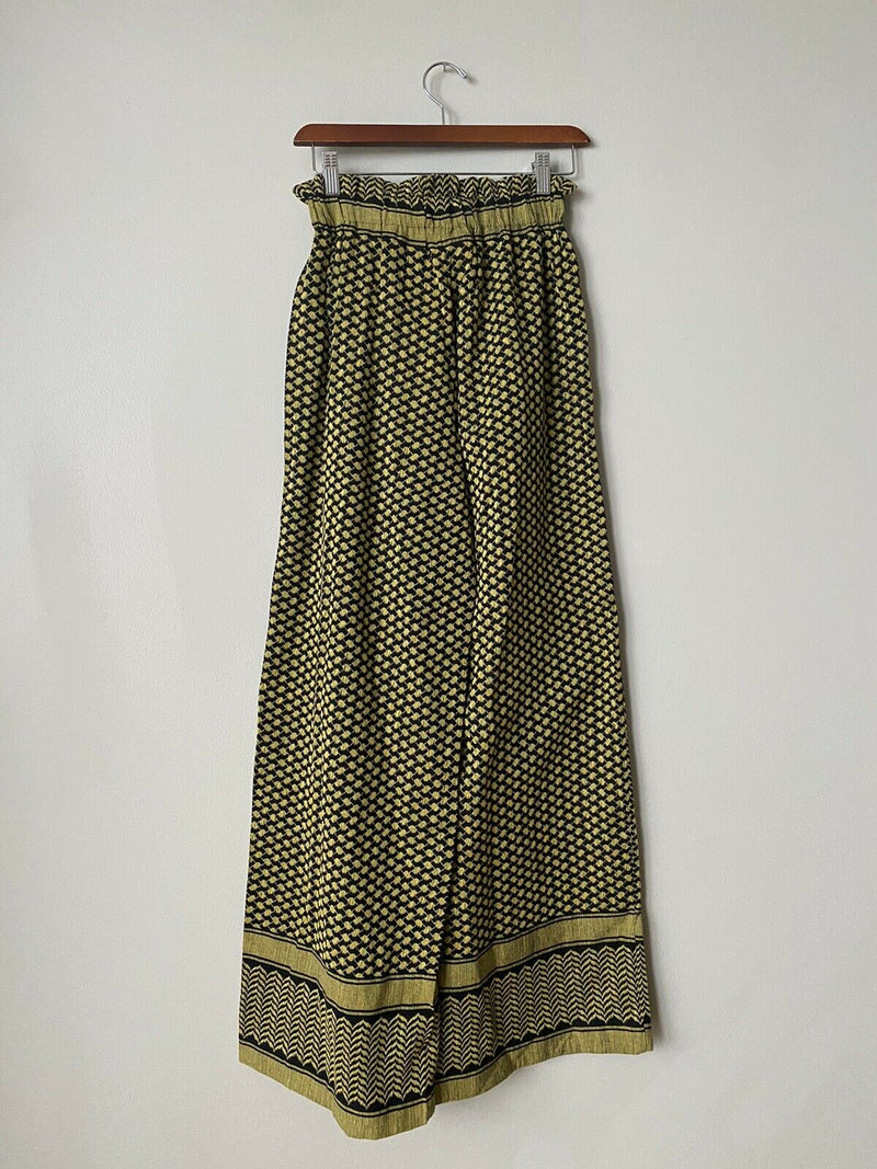 Rough Studios Women's Size Small Yellow Black Pants High Waisted Wide Leg NWT