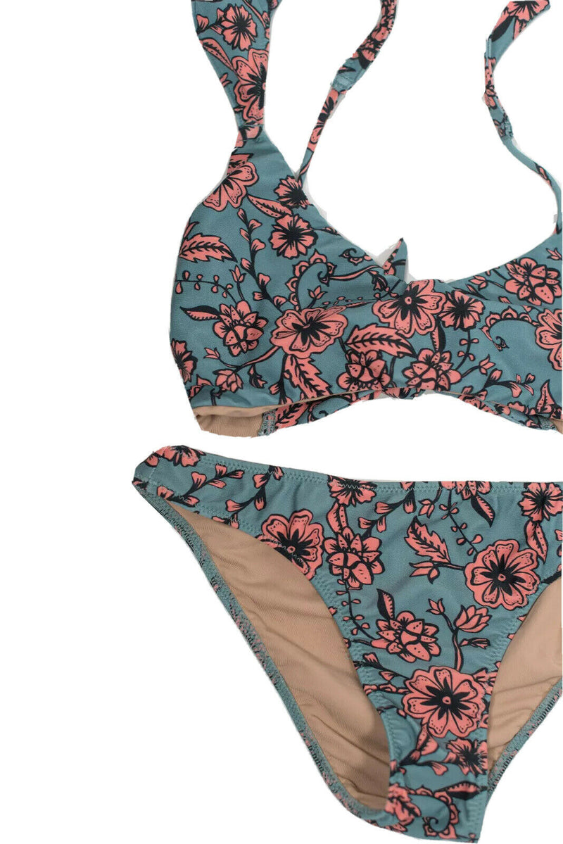 For Love And Lemons Womens Size XS Blue Pink Swimsuit Floral Print 2PC Bikini