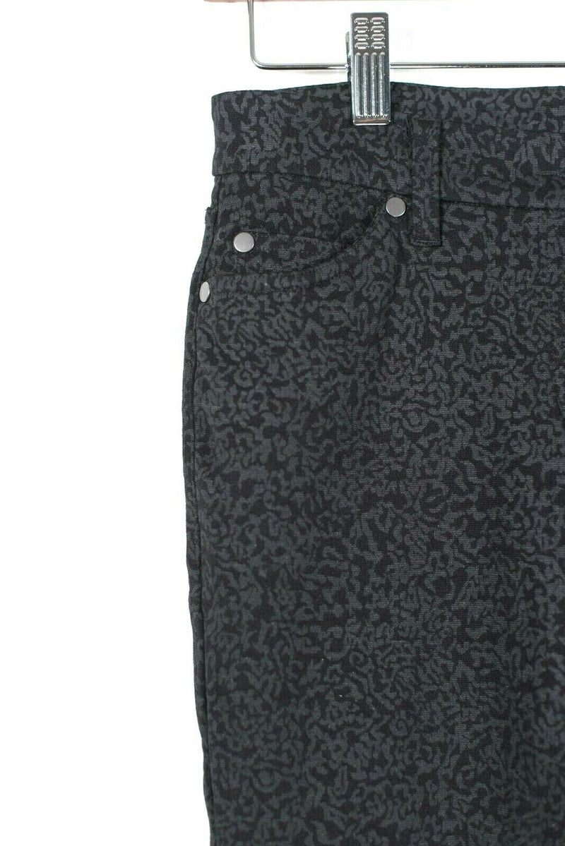 Eileen Fisher Womens Size 6 Small Black Pants Slim Skinny Zip Embossed Trousers