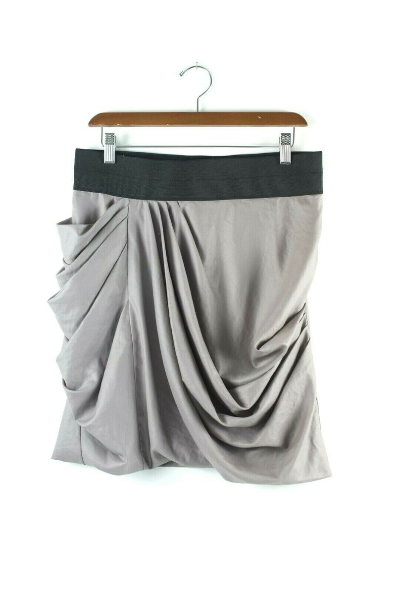 Elizabeth and James Womens Size 4 Taupe Skirt Mini Above Knee Skirt Sheen Draped