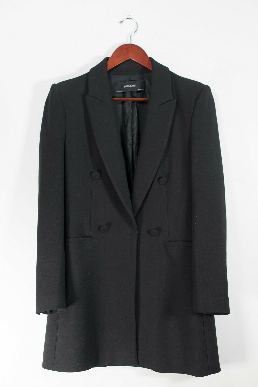 Zara Basic Women's Size Medium Black Blazer Jacket Long 4 Button Dressy Overcoat