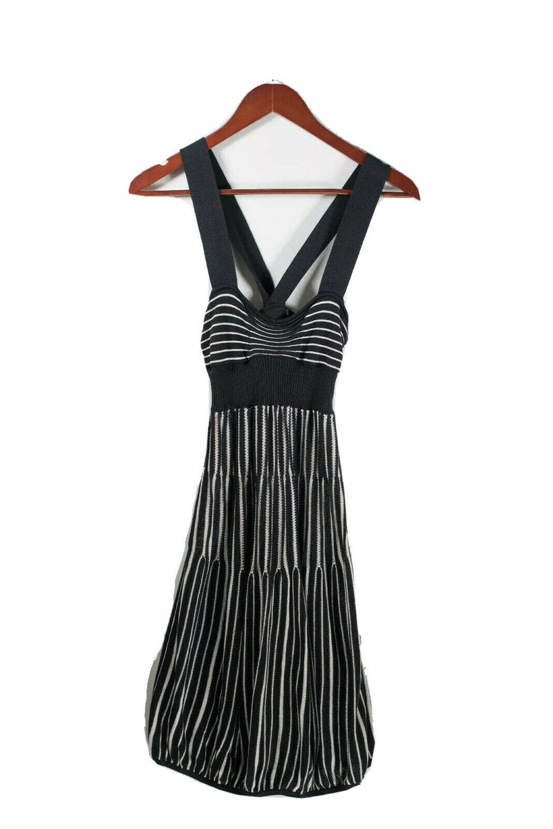 Armani Exchange Womens M Black Dress Knit Striped Wide Strap Sweetheart Neck