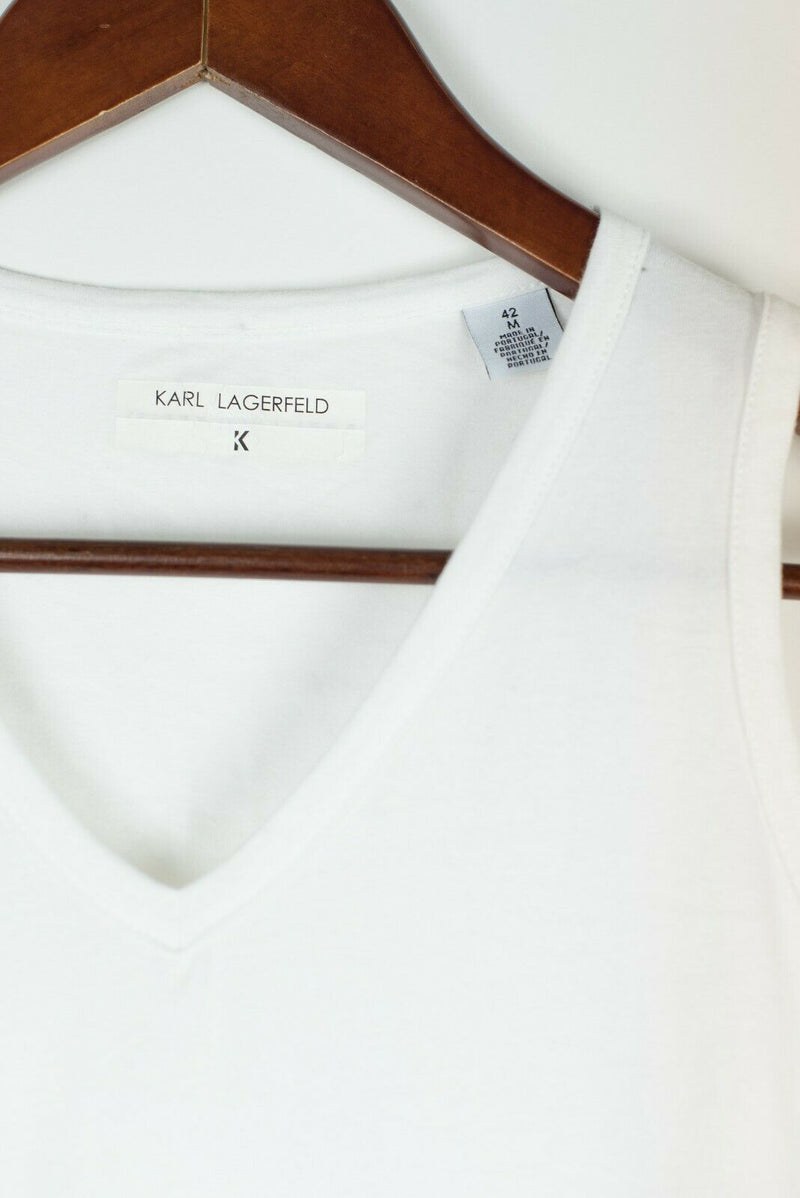 Karl Lagerfeld Womens Medium 42 White Sleeveless Blouse Tank Top Graphic Logo