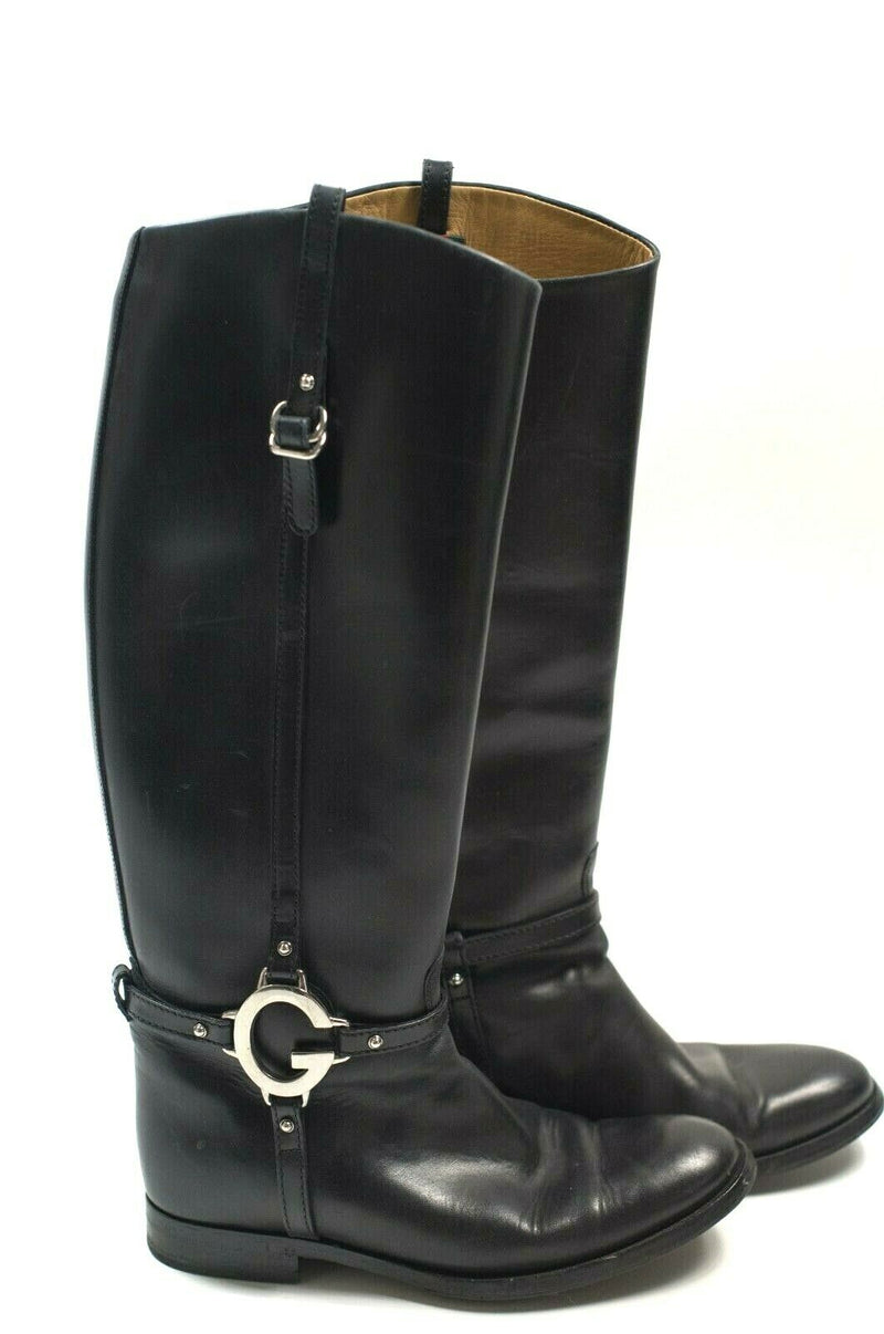 Gucci Womens 6.5 Black Riding Boot Tall Leather Large Silver G 36.5 Charlotte