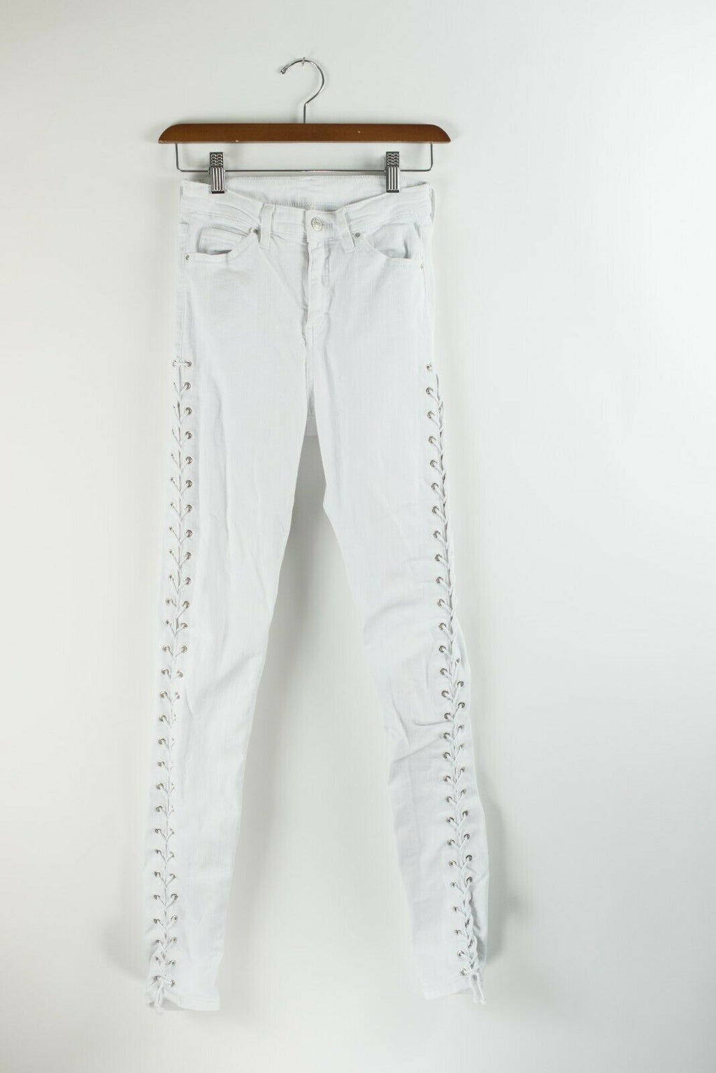 Topshop MOTO Womens Size 26 White Jeans Lace Up Jamie Cotton Denim Skinny Jeans