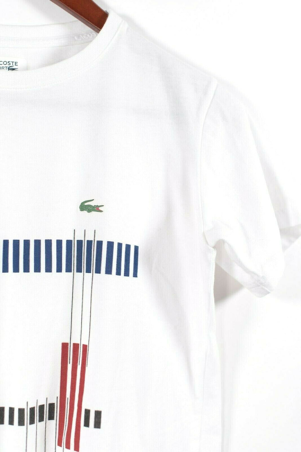 Lacoste Sport Womens White Multi Color Small T Shirt Tee Geometric Stripes Top