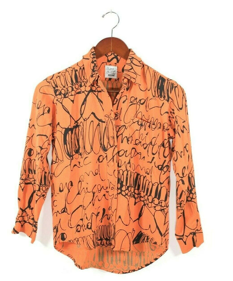 Moschino Cheap and Chic Womens Size 6 Orange Blouse Rare Graphic Long Sleeve Top