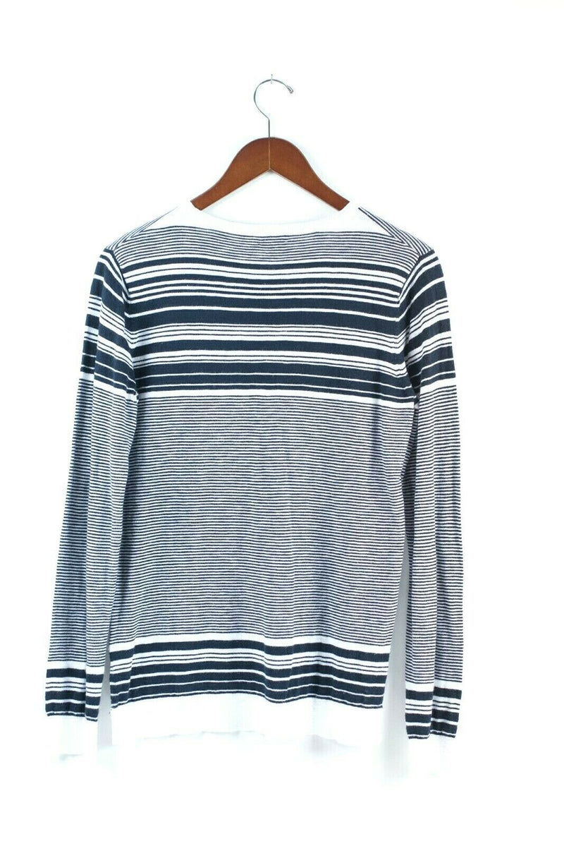 Vince Womens Size Medium Blue White Pullover Sweater Cotton Blend Striped Shirt