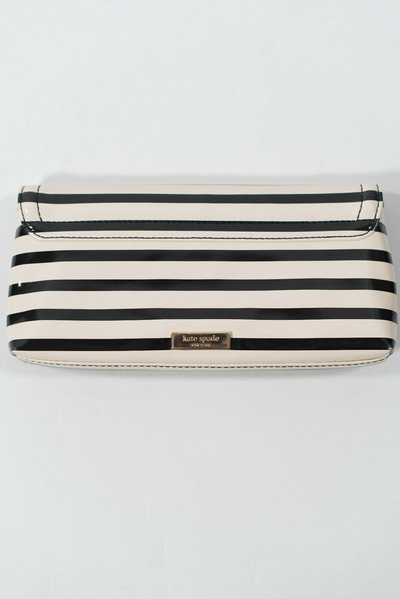 Kate Spade Black White Clutch Keira Chelsea Park Patent Stripe Wallet Bag $175