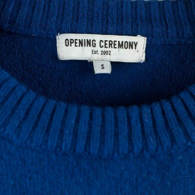 Opening Ceremony Womens Small Blue Pullover Cube Hand Jumper Wool Sweater Knit