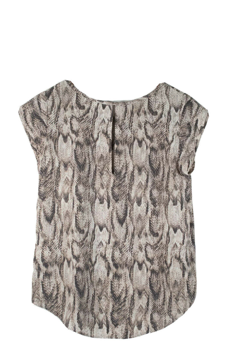 Joie Womens Medium Beige Top Snakeskin Print Cap Sleeve Hi-Lo Shirt Silk Blouse