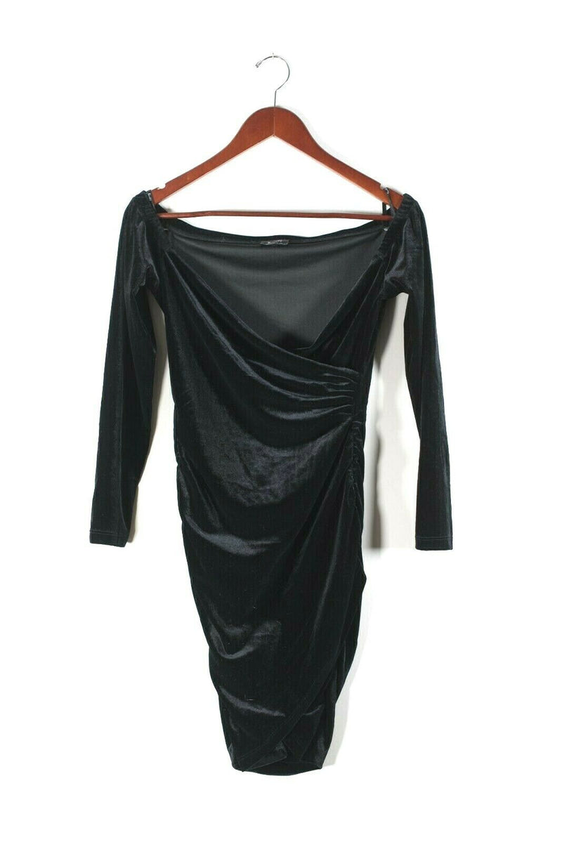 Bardot Nordstrom Womens Size 6 Small Black Dress Ruched Velvet Draped Mini Dress