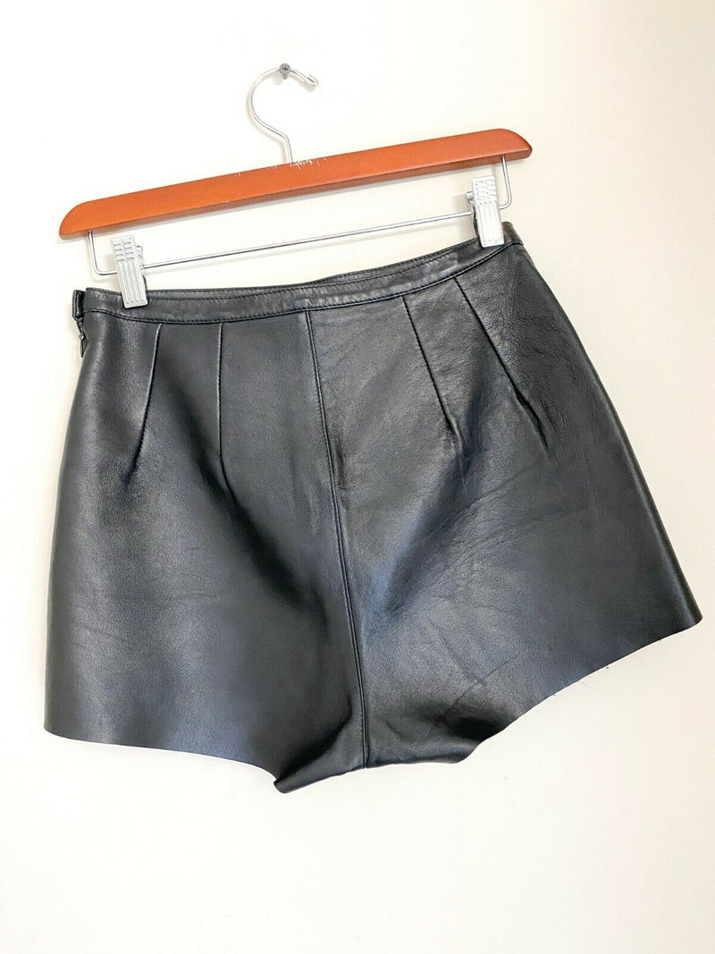 American Apparel Women's 26/27 Small Black Tap Shorts High-Rise Zipper Leather