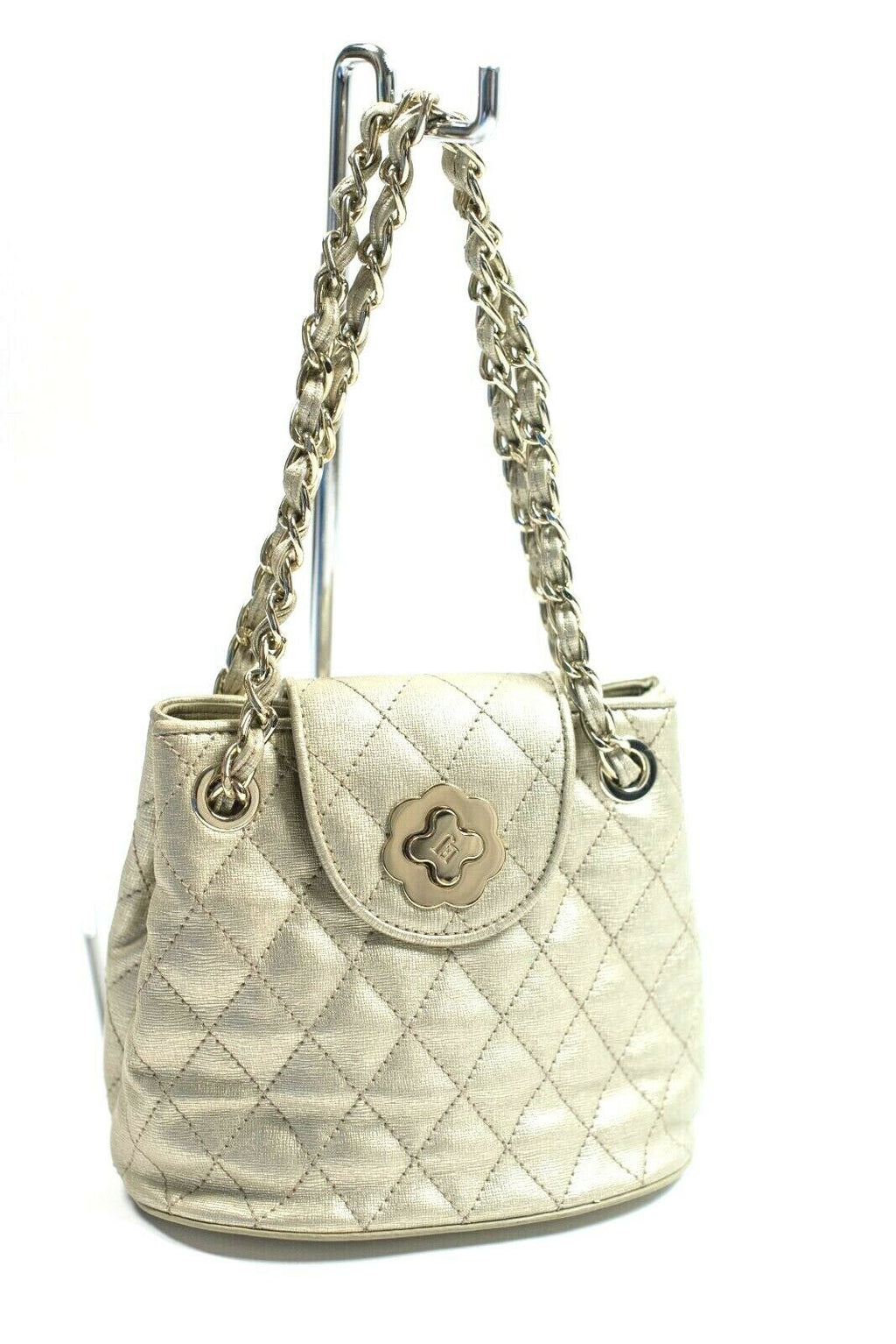 Eric Javits Womens Gold Bag Metallic Mini Liz Quilted Leather Chain Strap Purse