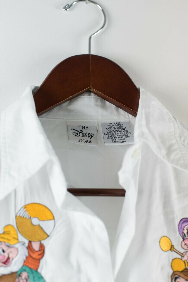 Disney Womens Medium White Snow White Dwarves Embroidered Button Up Shirt VTG