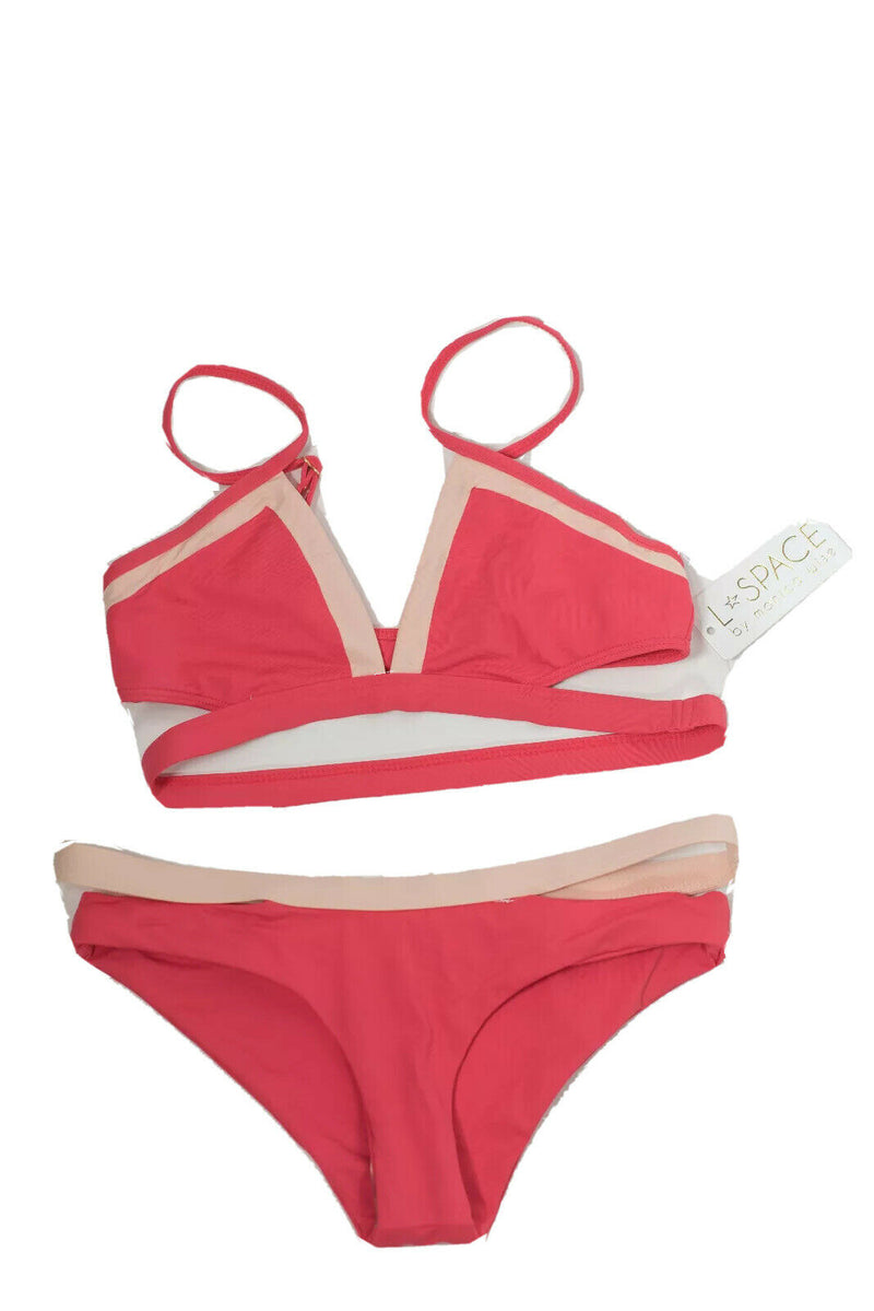 L*Space + Cocobell Womens Small Coral Pink Bikini Swimsuit 2 Tone Nylon NWT $250
