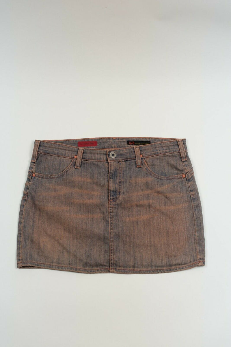 AG Adriano Goldschmied Size 28 Pink Blue The Legend Stretch Jean Mini Skirt $125