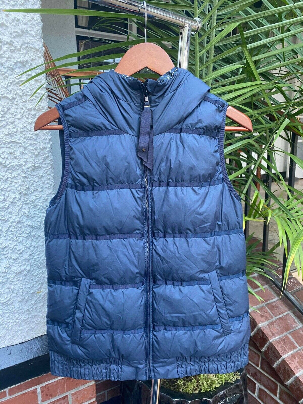 Lululemon Womens 8 Blue Vest Inkwell Chilly Chill Puffy Reversible Sashiko Down